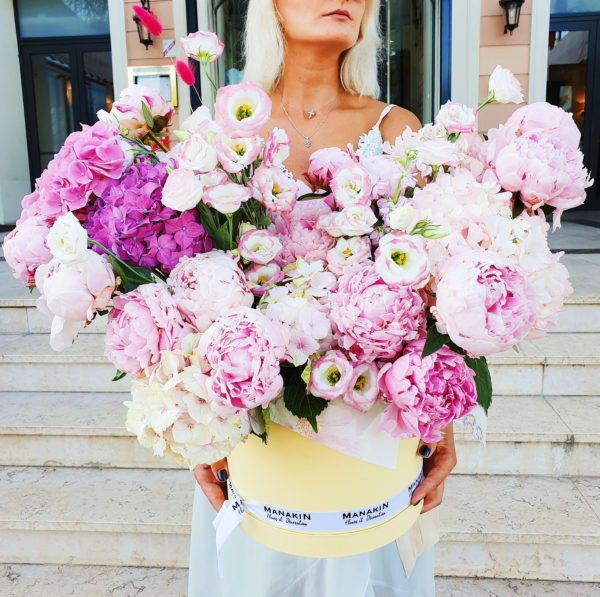 Flowers in Nice. Pink explosion! Peonies, Hydreangea in diffent shades of pink and Lisianthus!