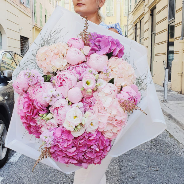 A huge pink composition with Hydrangeas, Peonies and Lisianthus wrapped in white paper. Everyone will fall in love with this bouquet!