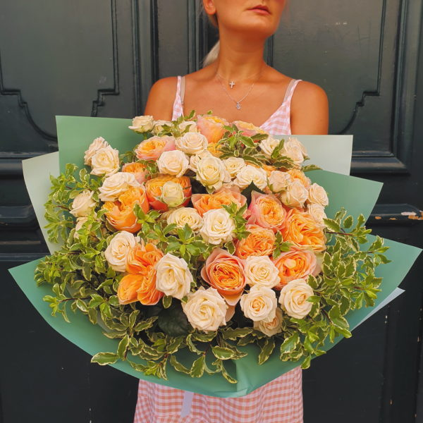 This huge bouquet will impress with the matching David Austin and Garden Roses. The best choise for romantics!